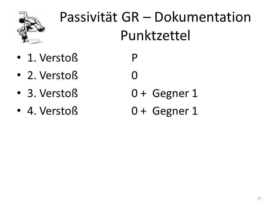 Passivität GR – Dokumentation Punktzettel 1. VerstoßP 2. Verstoß0 3. Verstoß0 + Gegner 1 4. Verstoß0 + Gegner 1 37