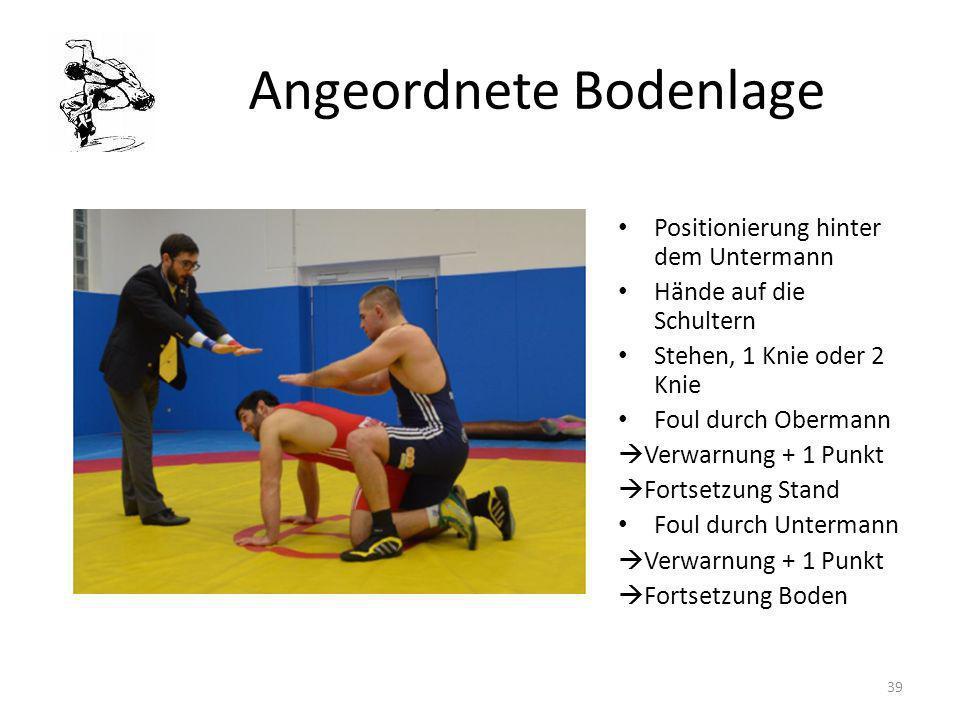 Angeordnete Bodenlage Positionierung hinter dem Untermann Hände auf die Schultern Stehen, 1 Knie oder 2 Knie Foul durch Obermann Verwarnung + 1 Punkt