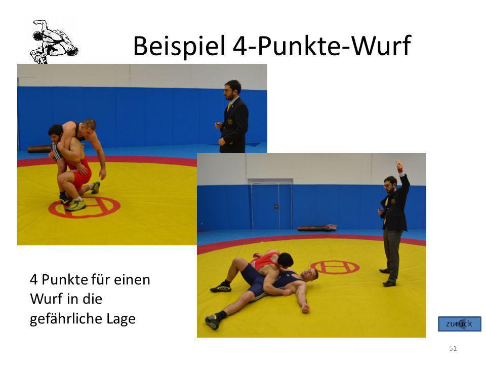 Beispiel 4-Punkte-Wurf 51 4 Punkte für einen Wurf in die gefährliche Lage zurück