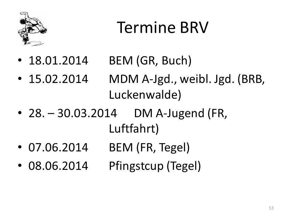 Termine BRV 18.01.2014BEM (GR, Buch) 15.02.2014MDM A-Jgd., weibl. Jgd. (BRB, Luckenwalde) 28. – 30.03.2014DM A-Jugend (FR, Luftfahrt) 07.06.2014BEM (F