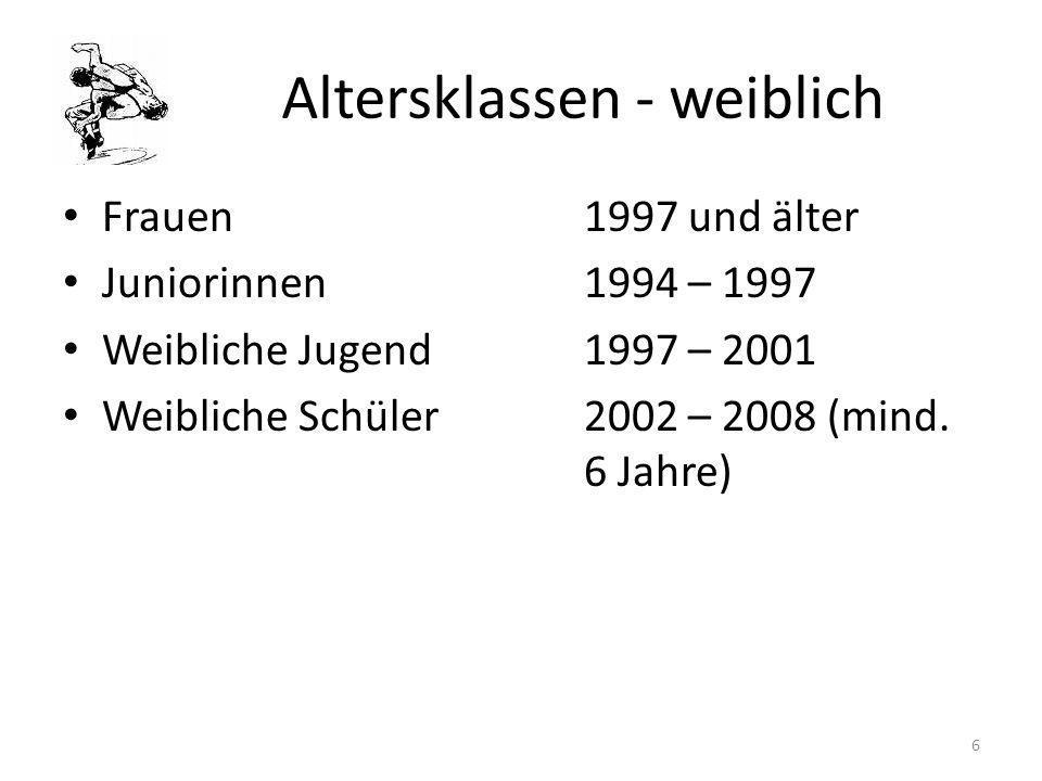 Altersklassen - weiblich Frauen1997 und älter Juniorinnen1994 – 1997 Weibliche Jugend1997 – 2001 Weibliche Schüler2002 – 2008 (mind. 6 Jahre) 6