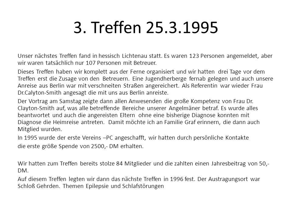 3. Treffen 25.3.1995 Unser nächstes Treffen fand in hessisch Lichtenau statt. Es waren 123 Personen angemeldet, aber wir waren tatsächlich nur 107 Per