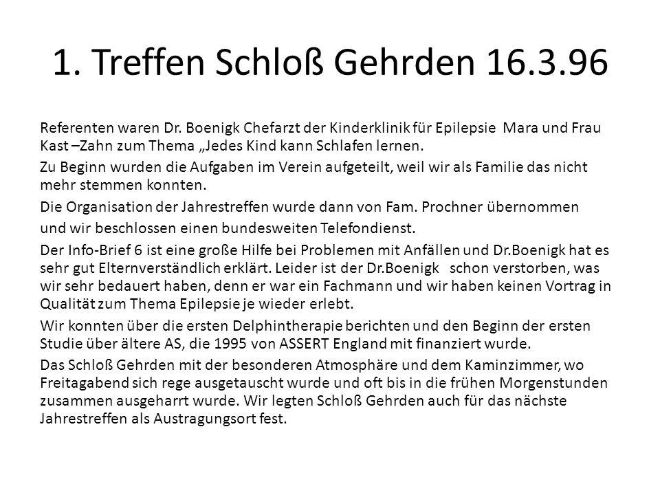 1. Treffen Schloß Gehrden 16.3.96 Referenten waren Dr. Boenigk Chefarzt der Kinderklinik für Epilepsie Mara und Frau Kast –Zahn zum Thema Jedes Kind k