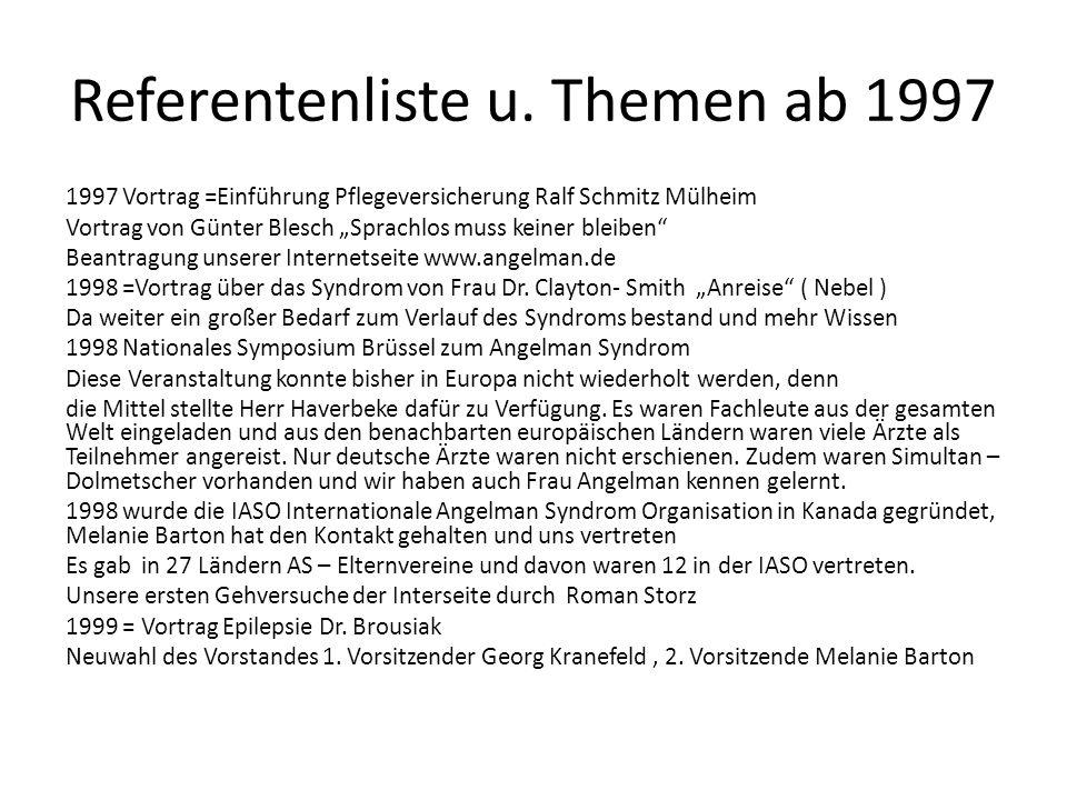 Referentenliste u. Themen ab 1997 1997 Vortrag =Einführung Pflegeversicherung Ralf Schmitz Mülheim Vortrag von Günter Blesch Sprachlos muss keiner ble