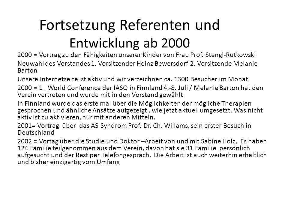 Fortsetzung Referenten und Entwicklung ab 2000 2000 = Vortrag zu den Fähigkeiten unserer Kinder von Frau Prof. Stengl-Rutkowski Neuwahl des Vorstandes