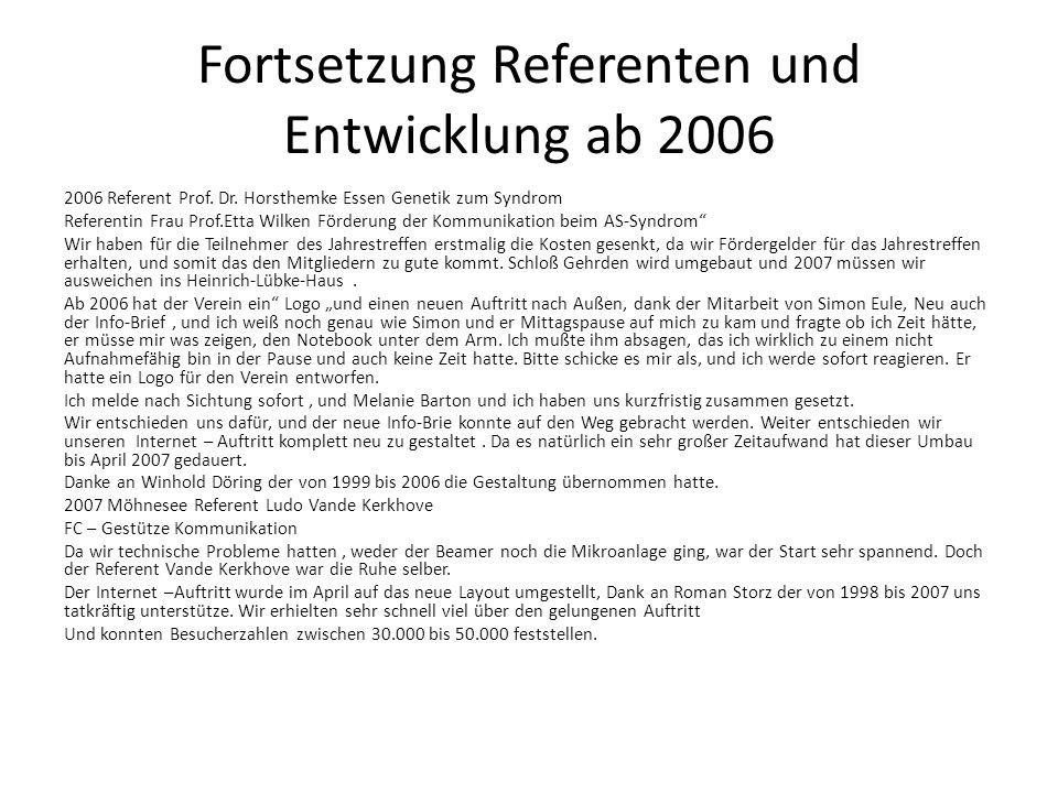 Fortsetzung Referenten und Entwicklung ab 2006 2006 Referent Prof. Dr. Horsthemke Essen Genetik zum Syndrom Referentin Frau Prof.Etta Wilken Förderung