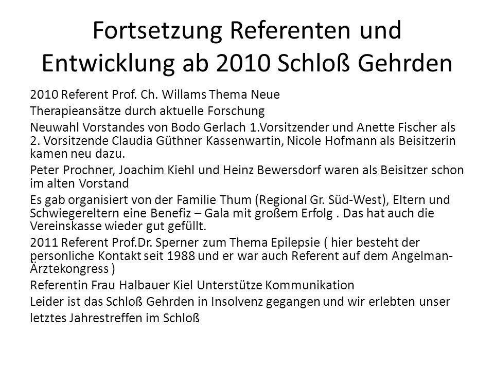 Fortsetzung Referenten und Entwicklung ab 2010 Schloß Gehrden 2010 Referent Prof. Ch. Willams Thema Neue Therapieansätze durch aktuelle Forschung Neuw