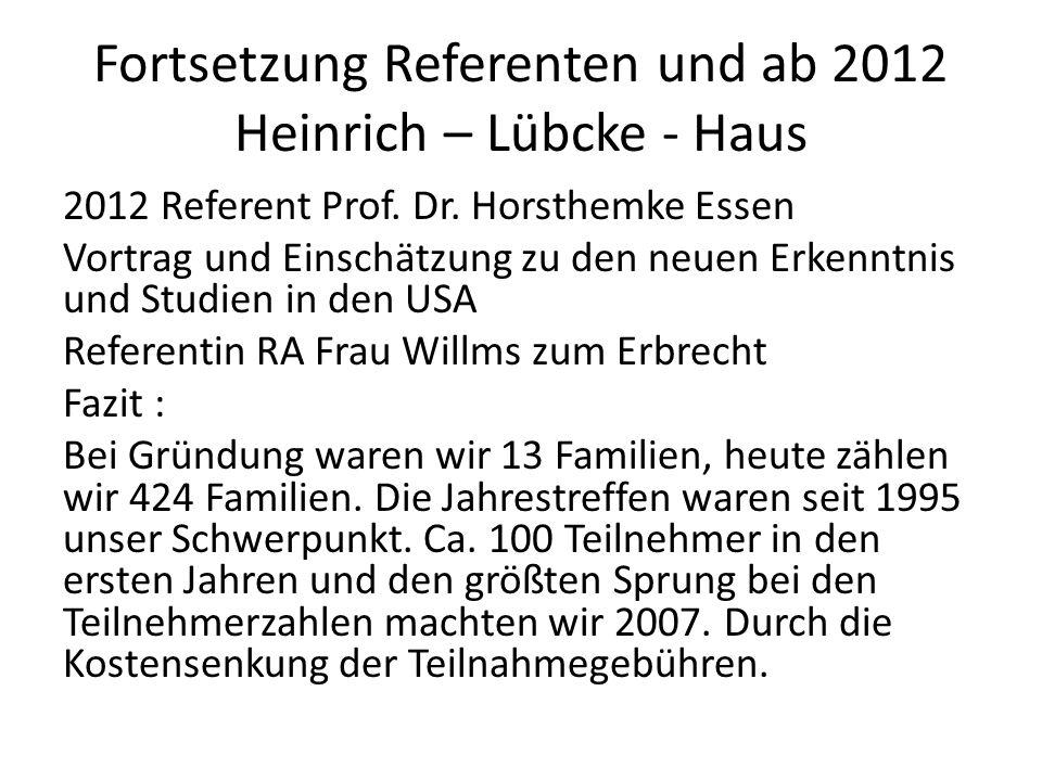 Fortsetzung Referenten und ab 2012 Heinrich – Lübcke - Haus 2012 Referent Prof. Dr. Horsthemke Essen Vortrag und Einschätzung zu den neuen Erkenntnis
