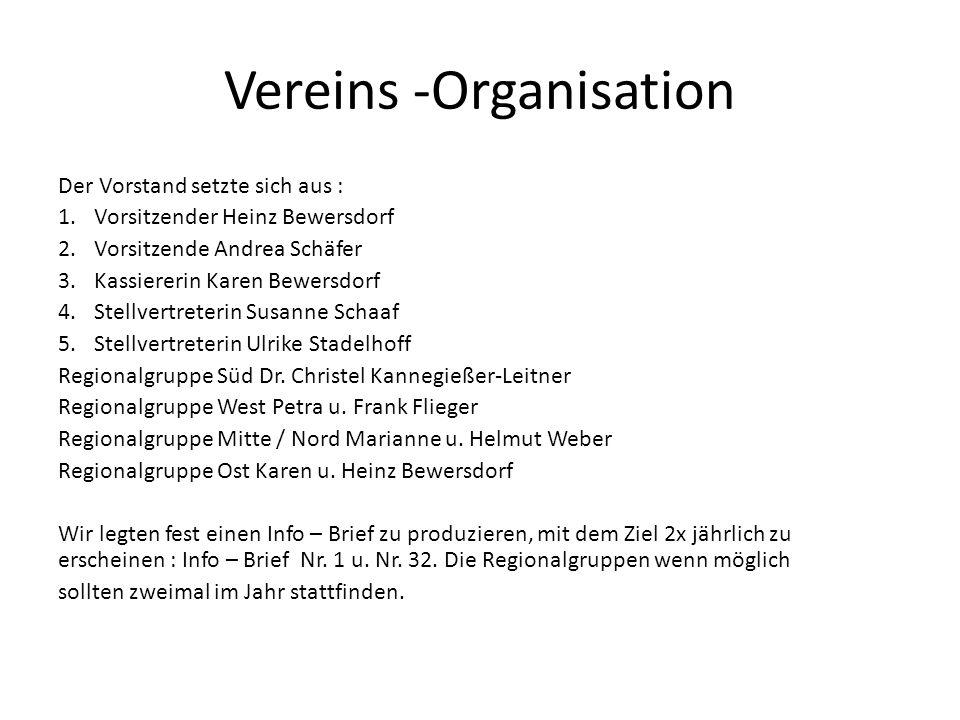 Vereins -Organisation Der Vorstand setzte sich aus : 1.Vorsitzender Heinz Bewersdorf 2.Vorsitzende Andrea Schäfer 3.Kassiererin Karen Bewersdorf 4.Ste