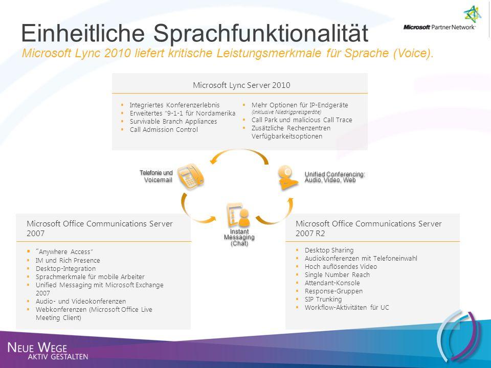 Einheitliche Sprachfunktionalität Microsoft Lync 2010 liefert kritische Leistungsmerkmale für Sprache (Voice). Telefonie und Voicemail Telefonie und V