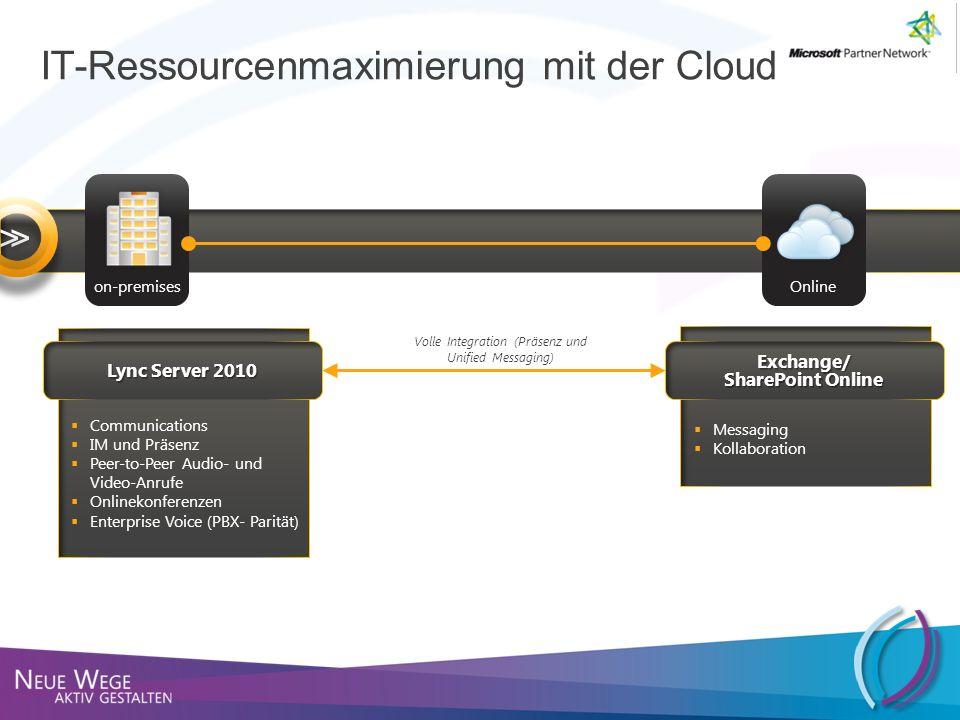 Lync Server 2010 Exchange/ SharePoint Online Communications IM und Präsenz Peer-to-Peer Audio- und Video-Anrufe Onlinekonferenzen Enterprise Voice (PB