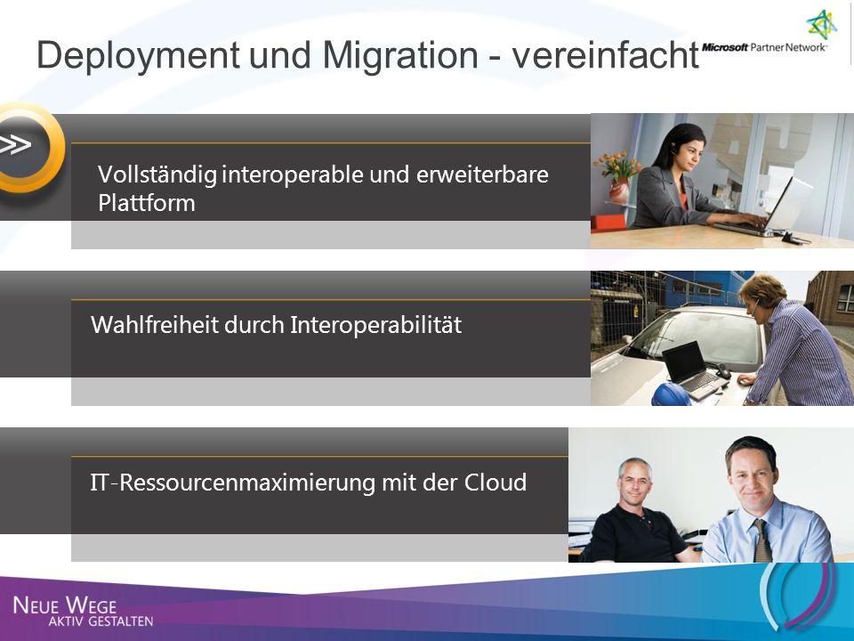 Vollständig interoperable und erweiterbare Plattform Wahlfreiheit durch Interoperabilität IT-Ressourcenmaximierung mit der Cloud Deployment und Migrat