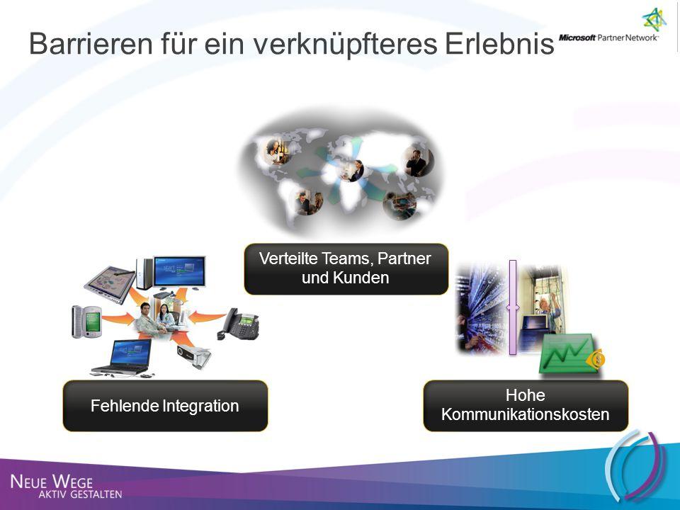 Barrieren für ein verknüpfteres Erlebnis Verteilte Teams, Partner und Kunden Hohe Kommunikationskosten Fehlende Integration