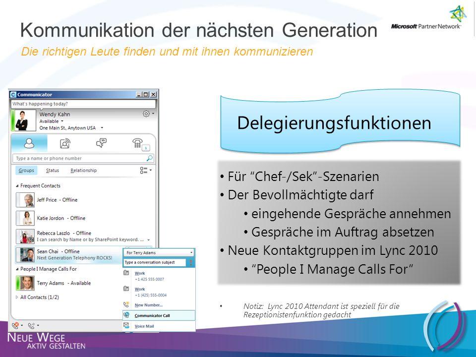 Kontaktkarte Outlook und Communicator Ansicht des Organigramms Kann an den Desktop angeheftet werden Kommunikation der nächsten Generation Die richtigen Leute finden und mit ihnen kommunizieren