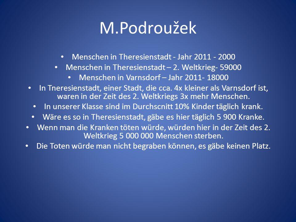 M.Podroužek Menschen in Theresienstadt - Jahr 2011 - 2000 Menschen in Theresienstadt – 2. Weltkrieg- 59000 Menschen in Varnsdorf – Jahr 2011- 18000 In