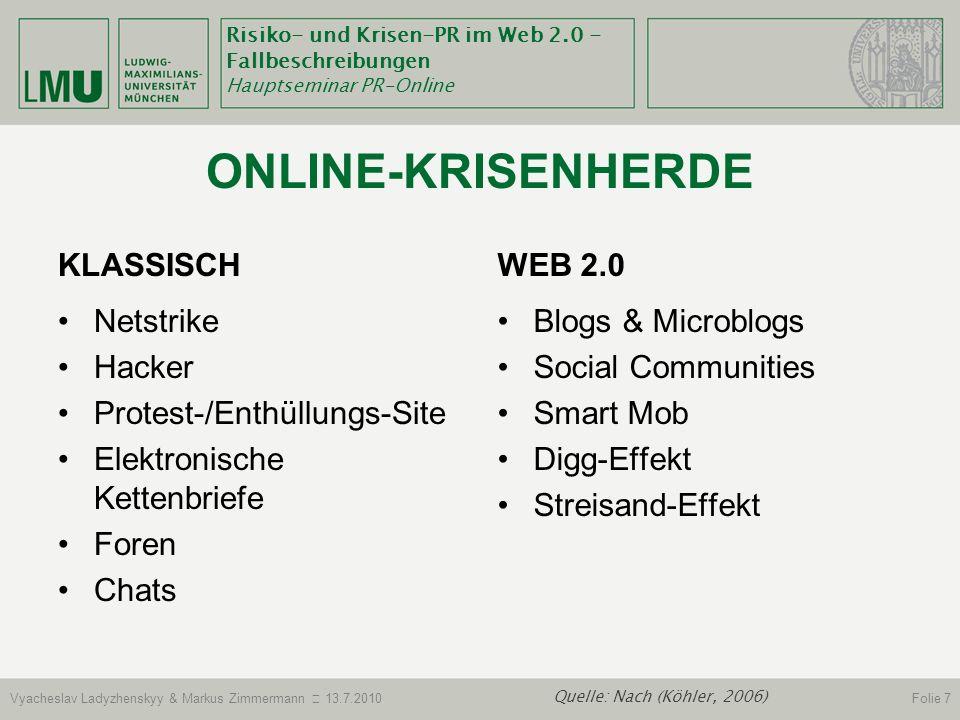 Risiko- und Krisen-PR im Web 2.0 - Fallbeschreibungen Hauptseminar PR-Online Vyacheslav Ladyzhenskyy & Markus Zimmermann 13.7.2010Folie 18 Quelle: (Haeusler, 2004; Stöcker, 2005).