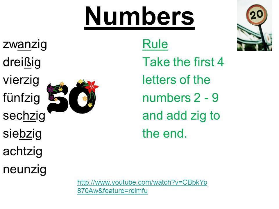 Number Quiz: Reading Answers 1.Einunddreißig31 2.Vierundfünfzig54 3.Sechsundsiebzig76 4.Achtundneunzig98 5.Zweiundvierzig42 6.Dreiundachtzig83 7.Fünfundzwanzig25 8.Siebenundsechzig67 9.Neununddreißig39