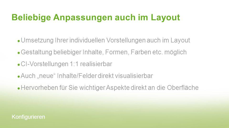 Beliebige Anpassungen auch im Layout Umsetzung Ihrer individuellen Vorstellungen auch im Layout Gestaltung beliebiger Inhalte, Formen, Farben etc. mög