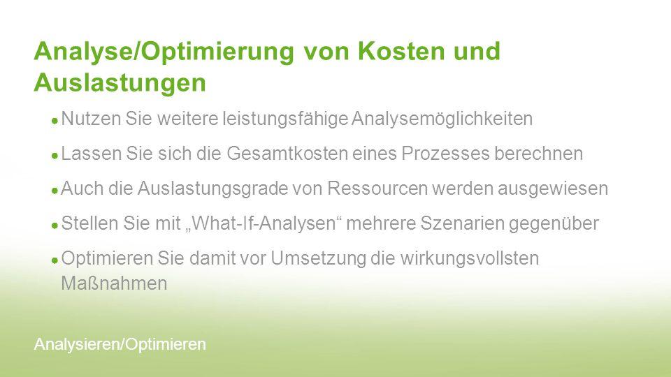 Analyse/Optimierung von Kosten und Auslastungen Nutzen Sie weitere leistungsfähige Analysemöglichkeiten Lassen Sie sich die Gesamtkosten eines Prozess