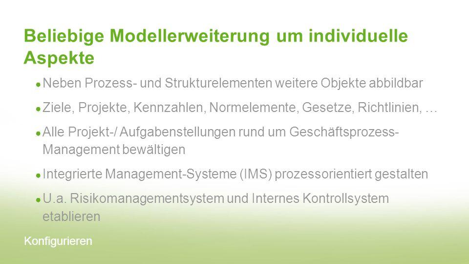 Beliebige Modellerweiterung um individuelle Aspekte Neben Prozess- und Strukturelementen weitere Objekte abbildbar Ziele, Projekte, Kennzahlen, Normel