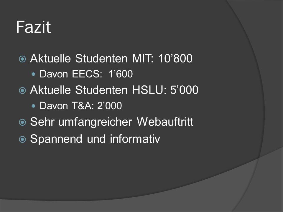 Fazit Aktuelle Studenten MIT: 10800 Davon EECS: 1600 Aktuelle Studenten HSLU: 5000 Davon T&A: 2000 Sehr umfangreicher Webauftritt Spannend und informa
