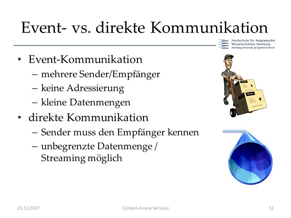 Event- vs. direkte Kommunikation Event-Kommunikation – mehrere Sender/Empfänger – keine Adressierung – kleine Datenmengen direkte Kommunikation – Send