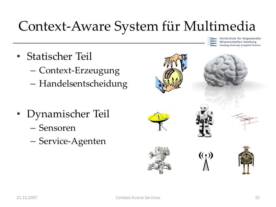 Context-Aware System für Multimedia Statischer Teil – Context-Erzeugung – Handelsentscheidung Dynamischer Teil – Sensoren – Service-Agenten 21.12.2007