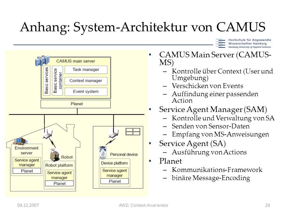 Anhang: System-Architektur von CAMUS 04.12.2007AW2: Context-Awareness24 CAMUS Main Server (CAMUS- MS) – Kontrolle über Context (User und Umgebung) – Verschicken von Events – Auffindung einer passenden Action Service Agent Manager (SAM) – Kontrolle und Verwaltung von SA – Senden von Sensor-Daten – Empfang von MS-Anweisungen Service Agent (SA) – Ausführung von Actions Planet – Kommunikations-Framework – binäre Message-Encoding