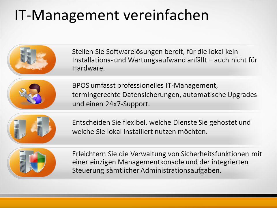 IT-Management vereinfachen Stellen Sie Softwarelösungen bereit, für die lokal kein Installations- und Wartungsaufwand anfällt – auch nicht für Hardware.