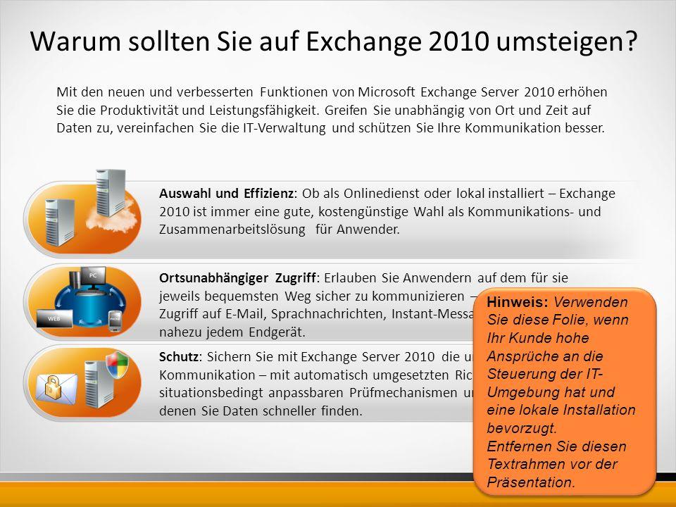 Warum sollten Sie auf Exchange 2010 umsteigen.