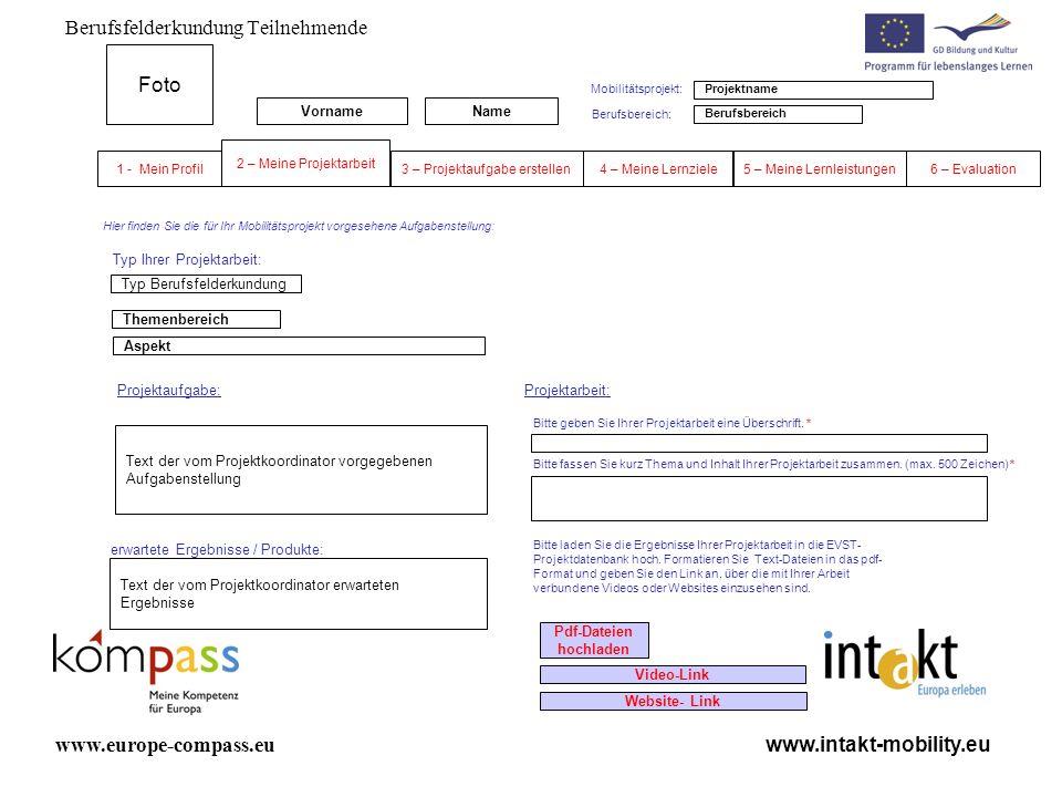 Berufsfelderkundung Teilnehmende www.intakt-mobility.eu www.europe-compass.eu Projektaufgabe: Themenbereich Bitte geben Sie Ihrer Projektarbeit eine Ü