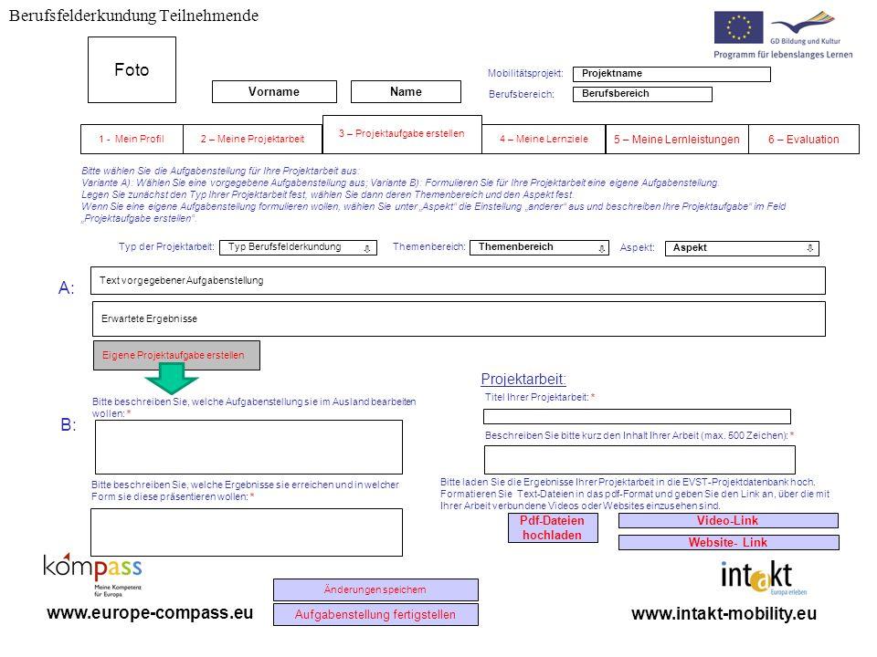 Berufsfelderkundung Teilnehmende www.intakt-mobility.eu www.europe-compass.eu Eigene Projektaufgabe erstellen Berufsbereich Themenbereich Titel Ihrer