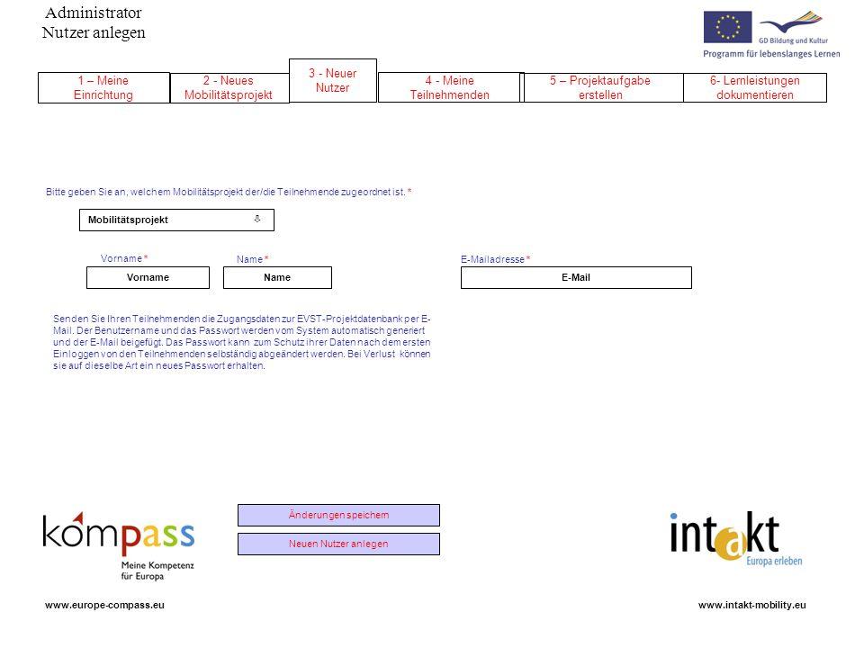Administrator Nutzer anlegen www.intakt-mobility.euwww.europe-compass.eu NameVornameE-Mail Mobilitätsprojekt Änderungen speichern Neuen Nutzer anlegen