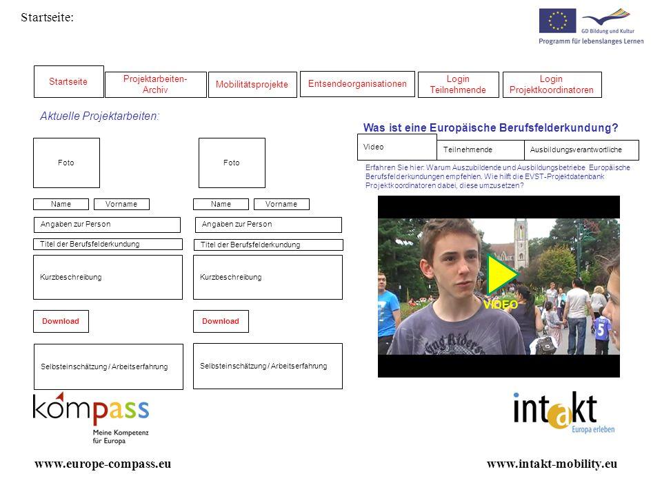 Startseite: Projektarbeiten- Archiv Mobilitätsprojekte Login Teilnehmende Login Projektkoordinatoren www.intakt-mobility.euwww.europe-compass.eu Foto