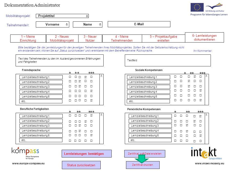 www.intakt-mobility.euwww.europe-compass.eu Bitte bestätigen Sie die Lernleistungen für den jeweiligen Teilnehmenden Ihres Mobilitätsprojektes. Sollte