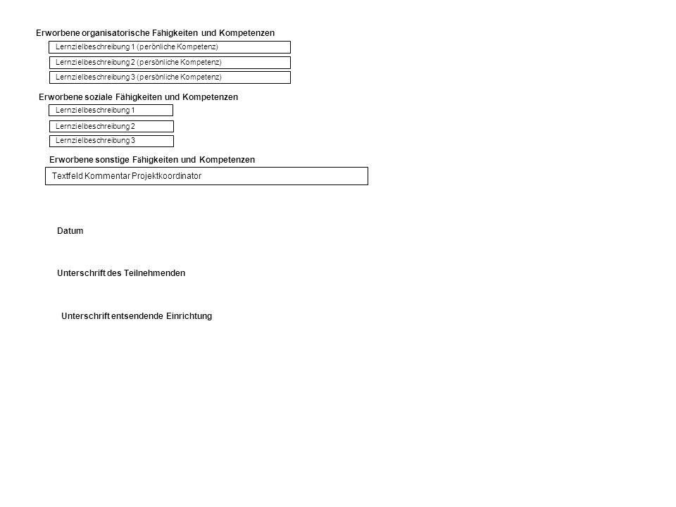 Erworbene soziale Fähigkeiten und Kompetenzen Lernzielbeschreibung 1 (perönliche Kompetenz) Lernzielbeschreibung 2 (persönliche Kompetenz) Lernzielbes