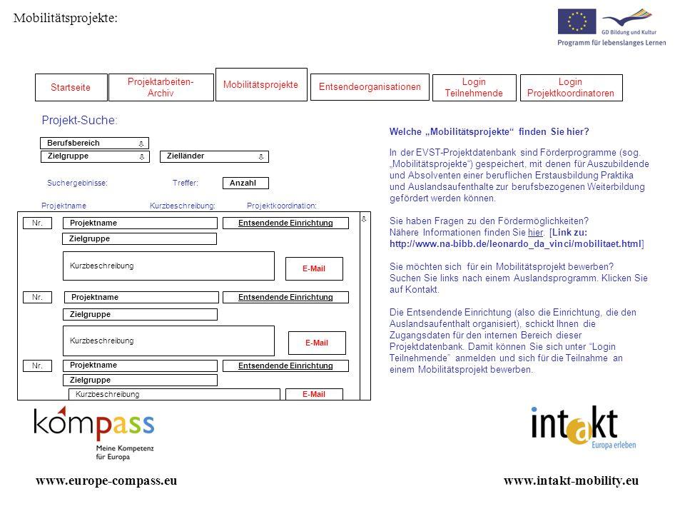 Administrator Projekt anlegen www.intakt-mobility.euwww.europe-compass.eu Projektname Änderungen speichern Name des Mobilitätsprojektes: * Zielgruppe: * Bitte beschreiben Sie kurz die wesentlichen Inhalte Ihres Mobilitätsprojektes (max.