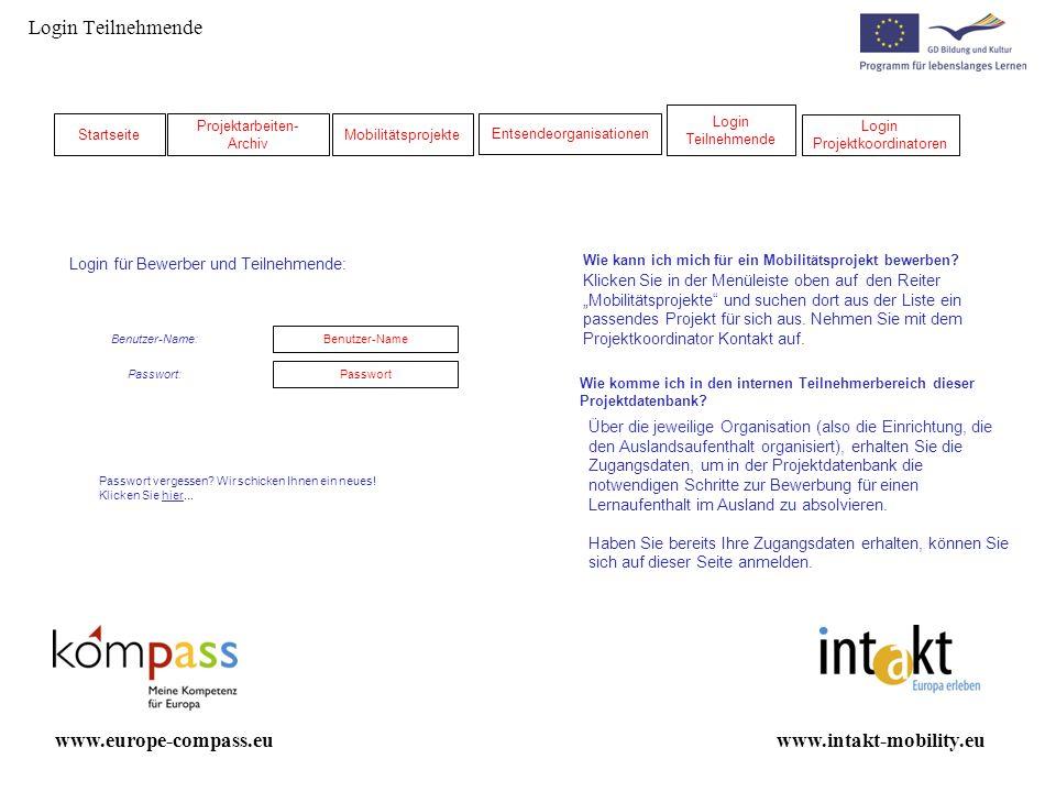 Administrator – Meine Projekte www.intakt-mobility.euwww.europe-compass.eu Teilnehmer-Suche: Berufsbereich Zielgruppe Zielländer Suchergebnisse: Projekt Projektname: Anzahl Treffer: Projektname NameVorname NameVornameE-MailZielland12345 Teilnehmer:Status: ProjektNameVornameE-MailZielland12345 ProjektNameVornameE-MailZielland12345 ProjektNameVornameE-MailZielland12345 ProjektNameVornameE-MailZielland12345 ProjektNameVornameE-MailZielland12 3 4 5 ProjektNameVornameE-MailZielland12345 Aus- und Rückreise geplant: Datum Werte Alarmliste 1 2 3 4 5 Rückreisedatum +14Ausreisedatum - 14Ausreisedatum - 7Rückreisedatum + 30 1 2 3 4 5 Ausreisedatum Sortieren nach Ausreisedatum: Sortieren nach Rückreisedatum: Rückreisedatum Alarmliste.