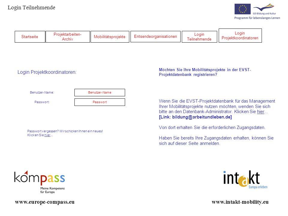 Login Teilnehmende Möchten Sie Ihre Mobilitätsprojekte in der EVST- Projektdatenbank registrieren? Wenn Sie die EVST-Projektdatenbank für das Manageme