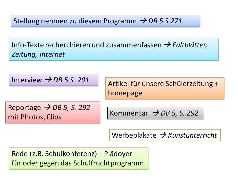 Stellung nehmen zu diesem Programm DB 5 S.271 Info-Texte recherchieren und zusammenfassen Faltblätter, Zeitung, Internet Interview DB 5 S.