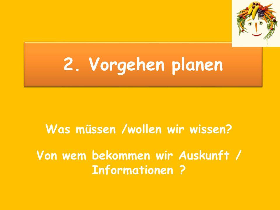2. Vorgehen planen Was müssen /wollen wir wissen? Von wem bekommen wir Auskunft / Informationen ?