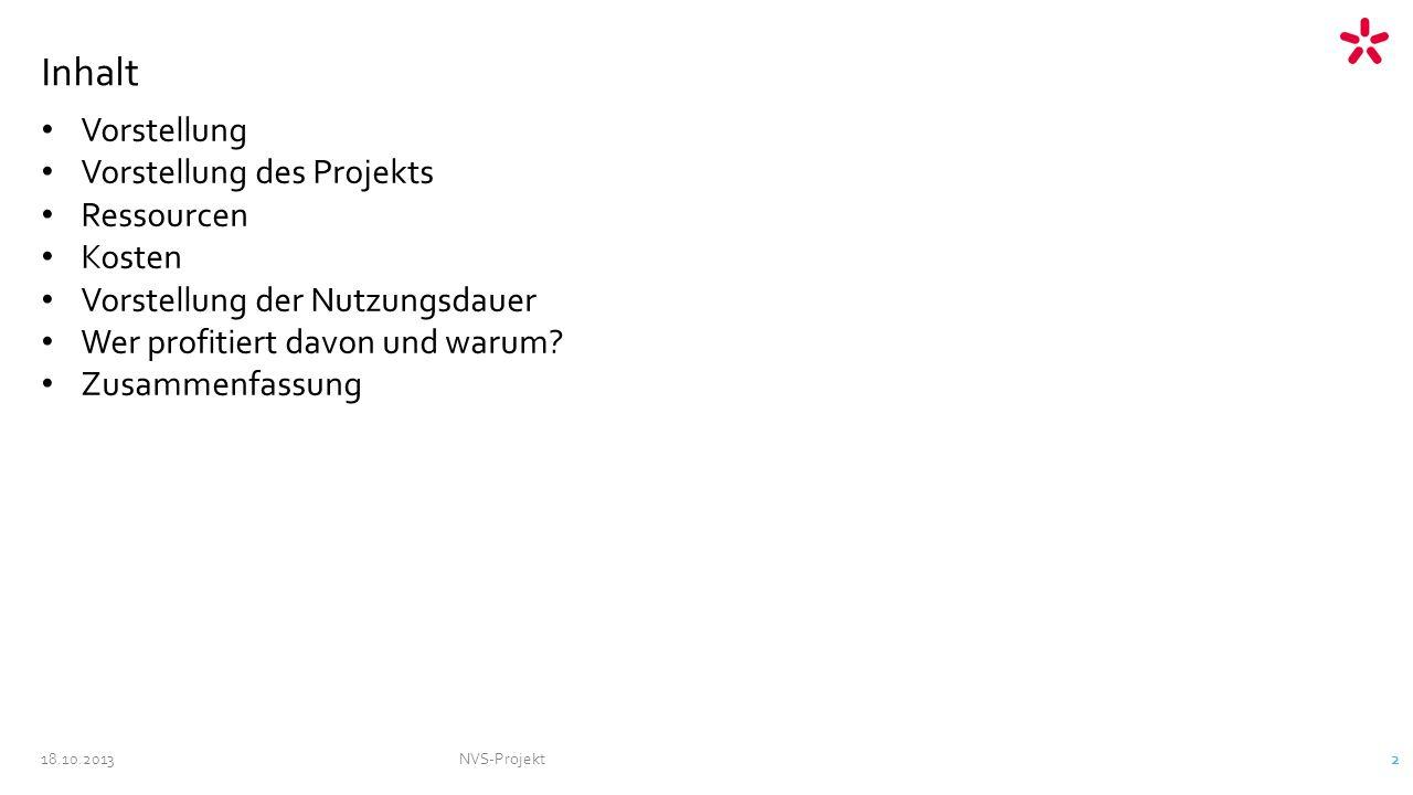 NVS-Projekt 2 Inhalt Vorstellung Vorstellung des Projekts Ressourcen Kosten Vorstellung der Nutzungsdauer Wer profitiert davon und warum.