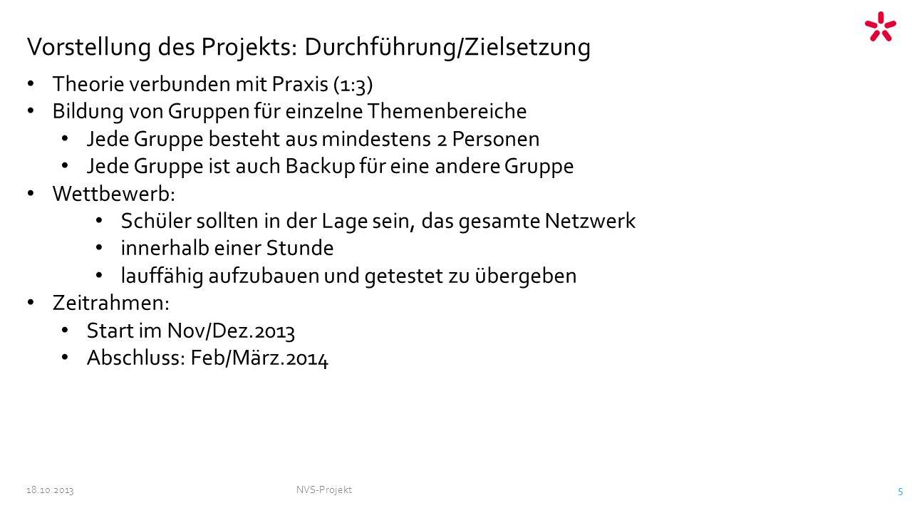 18.10.2013NVS-Projekt 5 Vorstellung des Projekts: Durchführung/Zielsetzung Theorie verbunden mit Praxis (1:3) Bildung von Gruppen für einzelne Themenb