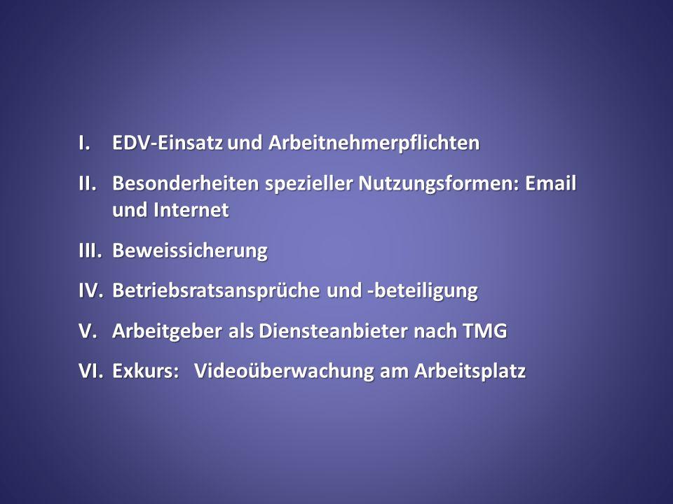I. EDV-Einsatz und Arbeitnehmerpflichten II.