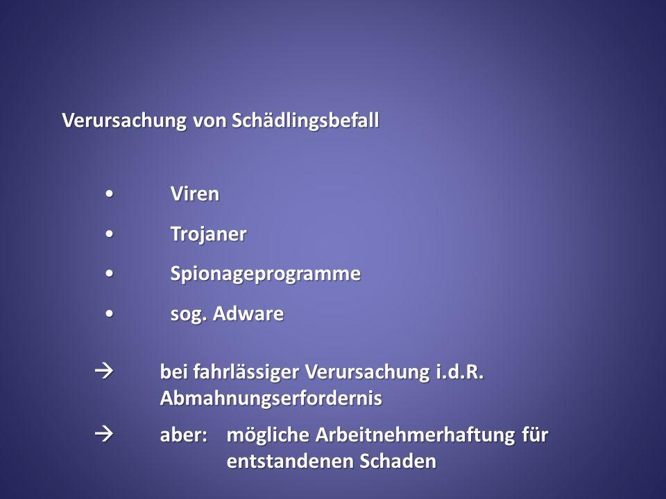 Verursachung von Schädlingsbefall VirenViren TrojanerTrojaner SpionageprogrammeSpionageprogramme sog.