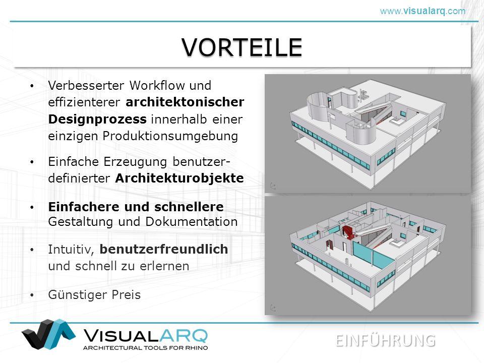 www.visualarq.com VORTEILEVORTEILE Verbesserter Workflow und effizienterer architektonischer Designprozess innerhalb einer einzigen Produktionsumgebung Einfache Erzeugung benutzer- definierter Architekturobjekte Einfachere und schnellere Gestaltung und Dokumentation Günstiger Preis Intuitiv, benutzerfreundlich und schnell zu erlernen EINFÜHRUNG