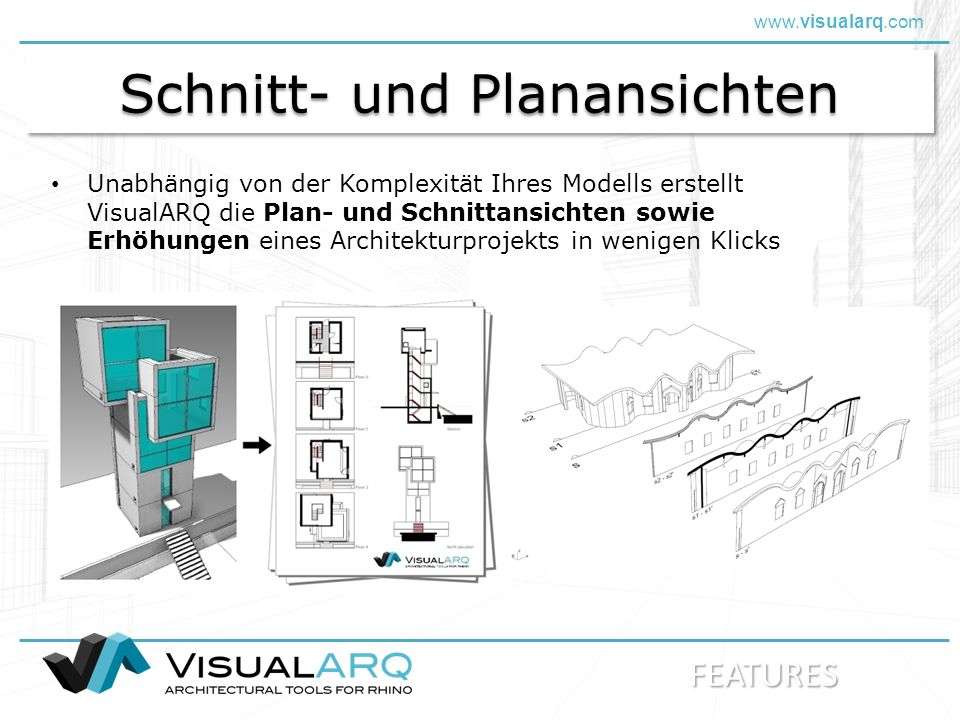 www.visualarq.com Lands Design Bubble for Rhino Software development: ARCHITECTURE – LANDSCAPE - ENGINEERING VisualARQ Dynamic Display VisualARQ wird entwickelt von: