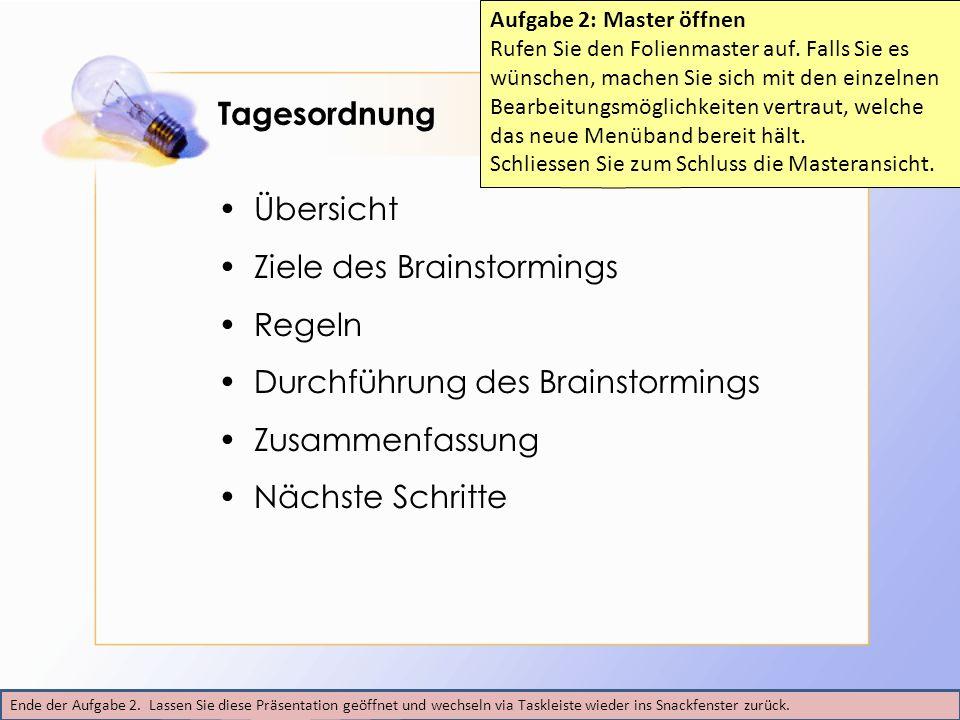 Tagesordnung Übersicht Ziele des Brainstormings Regeln Durchführung des Brainstormings Zusammenfassung Nächste Schritte Ende der Aufgabe 2. Lassen Sie