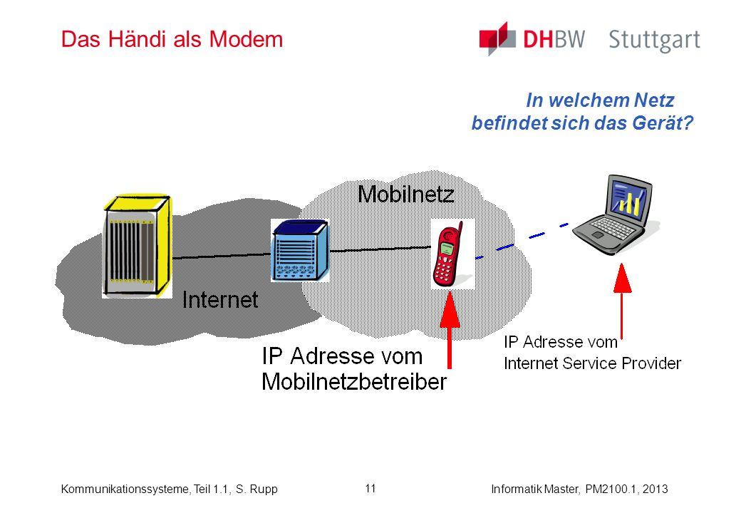 Kommunikationssysteme, Teil 1.1, S. RuppInformatik Master, PM2100.1, 2013 11 Das Händi als Modem In welchem Netz befindet sich das Gerät?