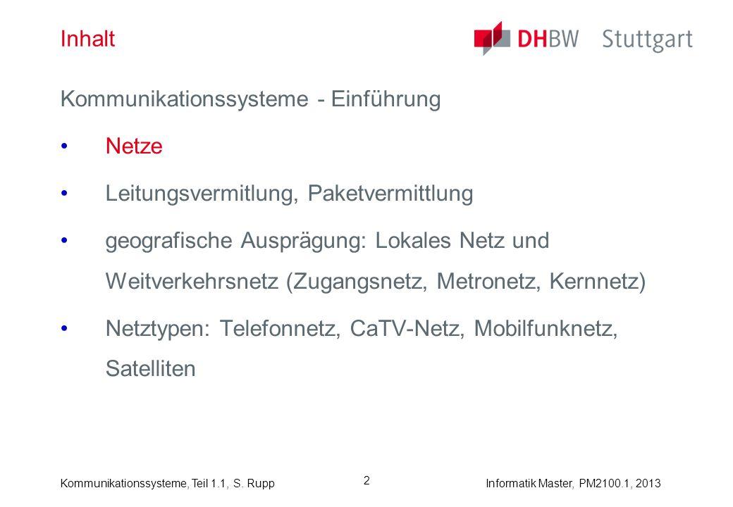 Kommunikationssysteme, Teil 1.1, S. RuppInformatik Master, PM2100.1, 2013 2 Inhalt Kommunikationssysteme - Einführung Netze Leitungsvermitlung, Paketv